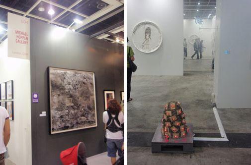 Nishio Shohei at Michael Hoppen Gallery (left) Tatsuo Miyajima at Lisson Gallery (right)