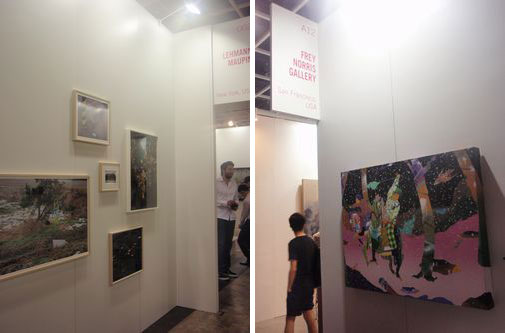 Rei Sato at Lehman Maupin Gallery (left) Tomokazu Matsuyama at Frey Noris Gallery (right)