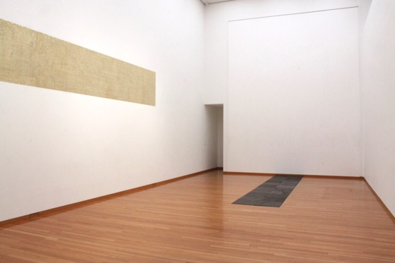 """Gold Finger"" by Motohiro Tomii exhibited on the wall and Carl Andre ""Twenty Second Steel Cardinal"" (1974) on the floor. They are actually in the same size."