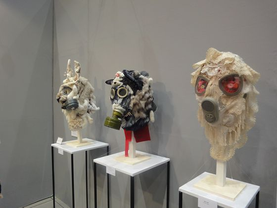 Kayo Sato was shocked by the radiation accident and created this work. She bought the real gas mask, cut and combined it with stuffed animals and clothes.