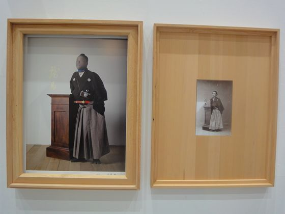 This one in funny... The photo on the right is a picture of Ryoma Sakamoto who is famous for leading Japan to the first step of democracy and quite popular in Japan in a recent year. And on the left, someone is imitating it with wearing a lady's stocking on his face and actually looks similar! hahaha.