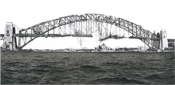 """Hisaharu Motoda """"Indication-Harbour Bridge (Sydney)"""" 2010, Photo Courtesy ofEditions Trevill"""