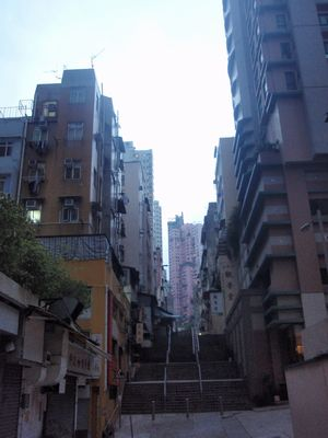 many steps in the Central and Sheung Wan Area, Hong Kong