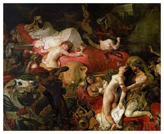 "Eugene Delacroix ""Death of Sardanapalus""(1827) which she used as the first layer for her painting"