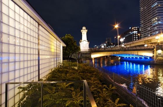 Night view of Nakanoshima park and Dojima river.
