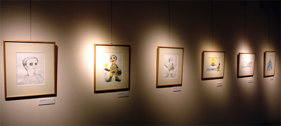 """Early sketches for Sun Child, Exhibition view of """"Until Sun Child Rises"""" at the Gallery of Ibaraki"""