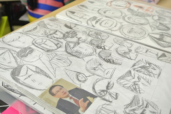 Yokoyama does many rough sketches of faces. The man in picture is someone he found in a newspaper.