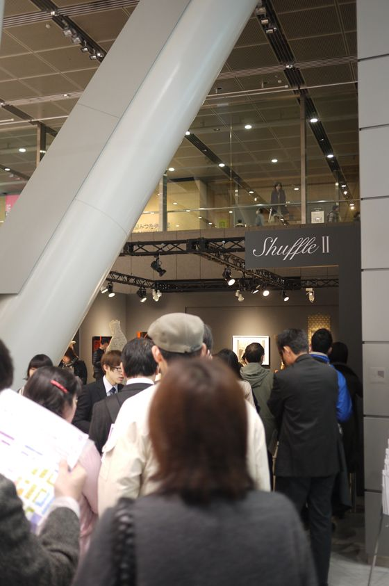 """The long queue behind the """"Shuffle II"""" exhibition space"""