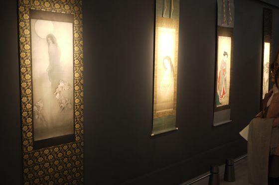 "Ink paintings, in the foreground, ""Industry Disease"" of Fuyuko Matsui, folloed by ""Ghost"" by Yamaguchi Soken (Edo period) and ""Beauty"" by Rosetsu Nagasawa (Edo period)"