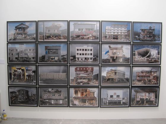Hirohito Nomoto's Façade is a montage of 20 photos capturing the facades of 20 buildings wrecked in the disaster during his trip to affected areas.