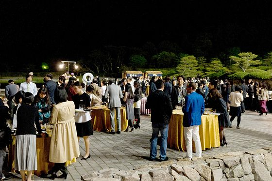 Reception party of ART KYOTO 2012 held at a beautiful garden.