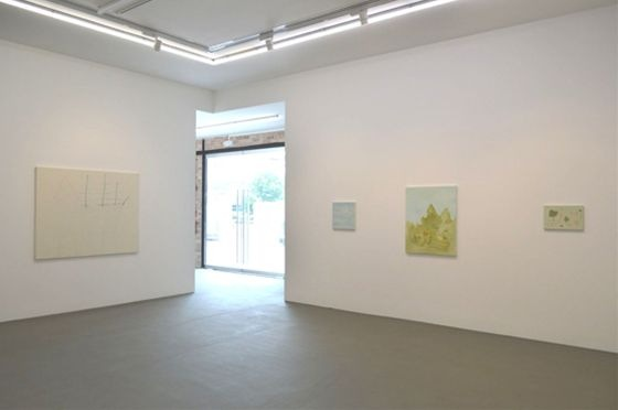 "Left to right: ""Sailor"" by Hiroshi Sugito, ""View"" by Masahiko Kuwahara, ""Sky"" by Masahiko Kuwahara, ""Construction"" by Masahiko Kuwahara, (Courtesy of Tomio Koyama Gallery)"