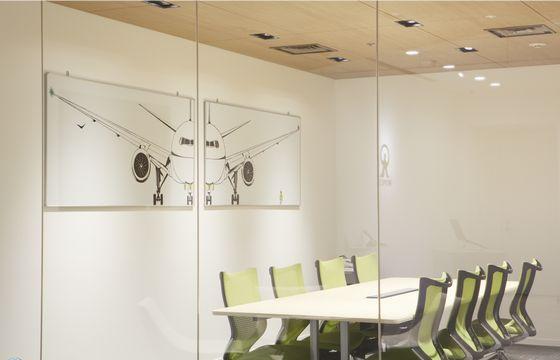 Tomoko Fukushi's work displayed in the press office of Monex