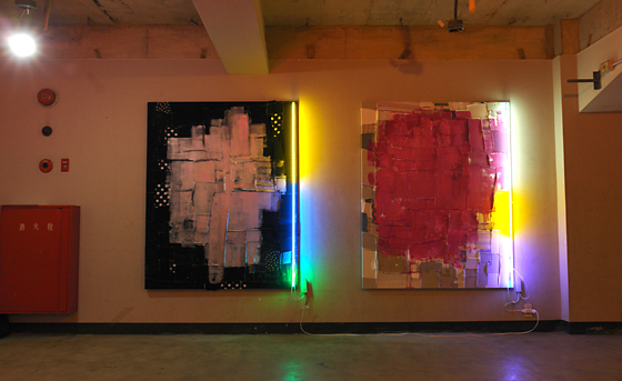 """Untitled (Bright Silver)"" and ""Untitled (Medium Magenta)"" by Takashi Kunitani"