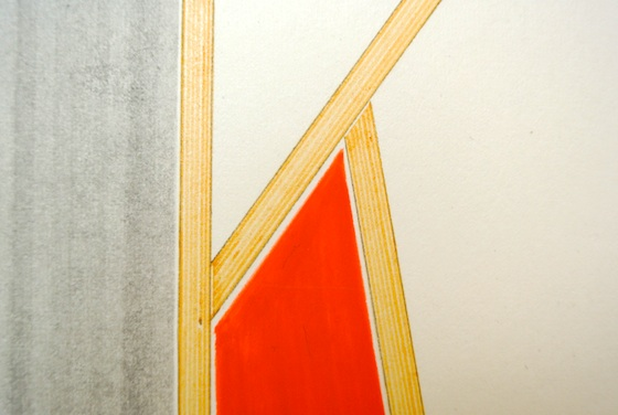 "Detail of the work ""wood, paper"" by Keisuke Kondo. The border of colors are carefully left uncolored."