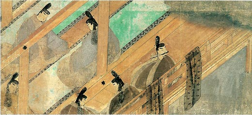 Scene from The Tale of Genji (12th century). It was drawn in Fukinuki-yatai style which has no walls but only timber frames.