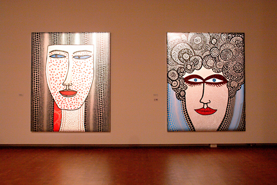 "[left] ""IN A FOREIGN COUNTRY OF BLUE-EYED PEOPLE"" by Yayoi Kusama, 2011 [right] ""I WHO WAS LOOKING HARD AT GOD"" by Yayoi Kusama, 2011"