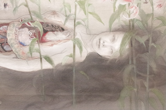 "Detail of painting ""Keeping up the Pureness"" by Fuyuko Matsui"