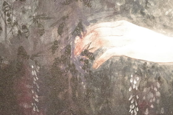"Detail of tainted hand in painting ""Becoming Friends with All the Children in the World"" by Fuyuko Matsui"