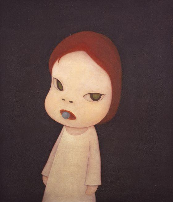 """Yoshitomo Nara """"Candy Blue Night"""" 2001, H1166.5 x W100.0cm, Acrylic on canvas (c)Yoshitomo Nara, Cortesy of Tomio Koyama Gallery, Photo by Yoshitaka Uchida"""