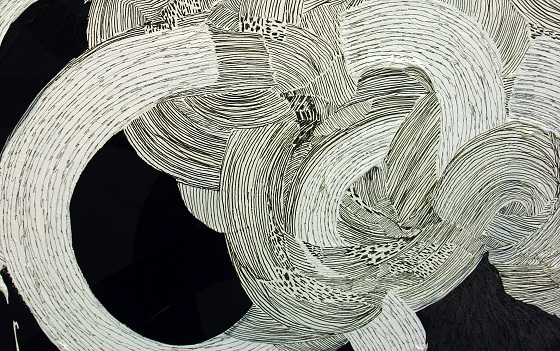 "Close-up of ""dejavu"" 2011 by Reika Nakayama, acrylic, pencil and pen on canvas. Black thin lines are drawn on white acrylic."