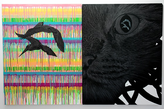 """eye-catch"" 2011-2012 by Reika Nakayama, acrylic and pencil on canvas"