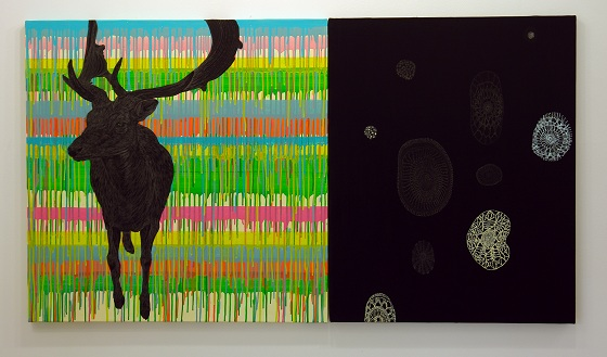 """Safarism-Zoom"" 2011-2012 by Reika Nakayama, acrylic and pencil on canvas"