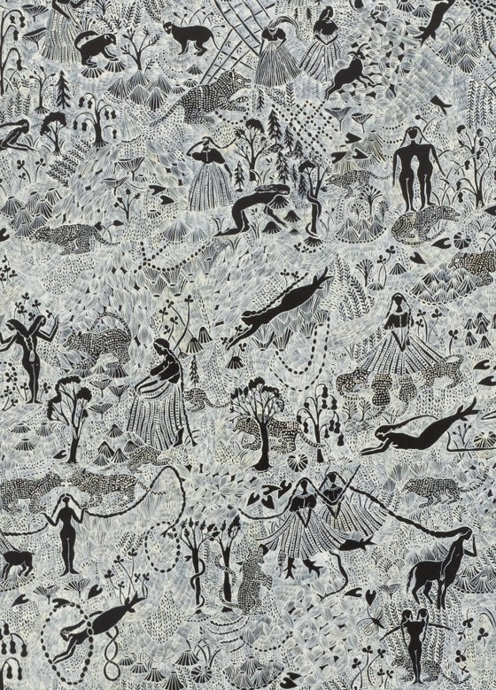 Detail of a song of dark forest, 2012, acrylic on canvas, Courtesy of Tomio Koyama Gallery, photo : Kenji Takahashi