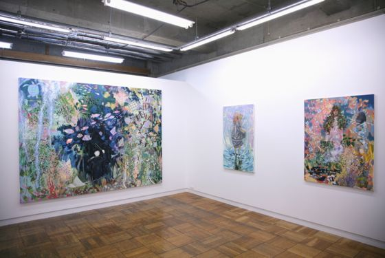 """Orchestra Under the Water"" (left), ""I pass over water, and pass over water again/ I look at the flowers, and look at the flowers again"" (center) and ""Empty forest"" (right) by Sakae Ozawa, 2012"