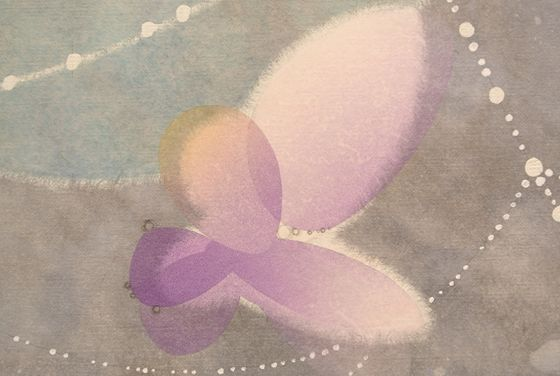 "Detail of a butterfly of Yuko Someya ""Breathing at rest with tears behind"""