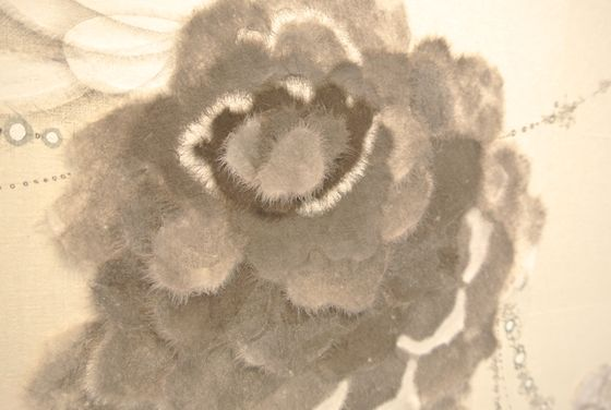 "Detail of another flower in ""Breathing at rest with tears behind"" (black and white version)"