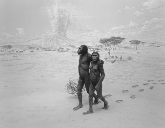 "Gelatin silver print ""Earliest Human Relatives"" by Hiroshi Sugimoto (1994) Photo: Hara Museum of Contemporary Art"