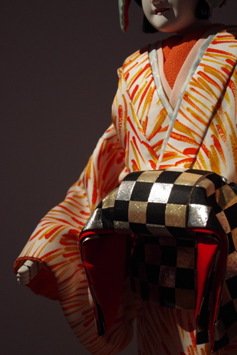 Close-up of puppet's costume from Sugimoto's Sonezaki Shinju (2011)
