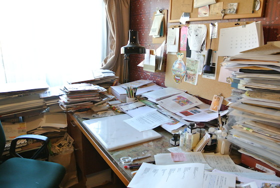 Keiichi Tanaami's desk at his studio.