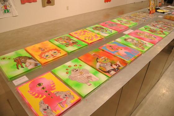"Special editions of Keiichi Tanaami's book ""Killer Joe"" placed at exhibition ""Tanaami Tee x 100"", 2013. Silkscreen printed on the face of book."