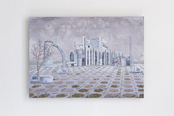 "Kounosuke Kawakami ""Fyodor Dostoevsky Theater"", mixed media on canvas. 59.4 x 84.1 cm, 2012."
