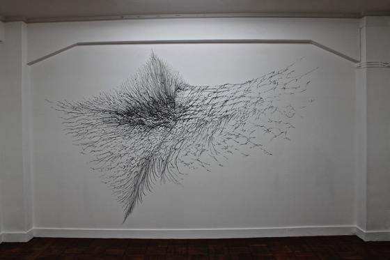 "This room was dedicated to Kohei Nawa. ""Cattalyst #15"" (2014) one of which is projected right onto the wall"