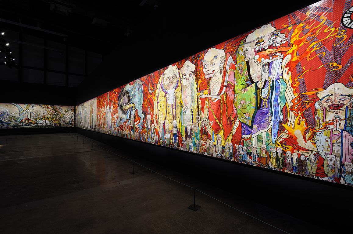 "Takashi Murakmi, The 500 Arhats 2012. Acrylic on canvas mounted on board. 302 x 10,000 cm. Private collection. Installation view: ""Murakami - Ego,"" Al Riwaq Exhibition Hall, Doha, 2012. Photo: GION. ©2012 Takashi Murakami/Kaikai Kiki Co., Ltd. All Rights Reserved."