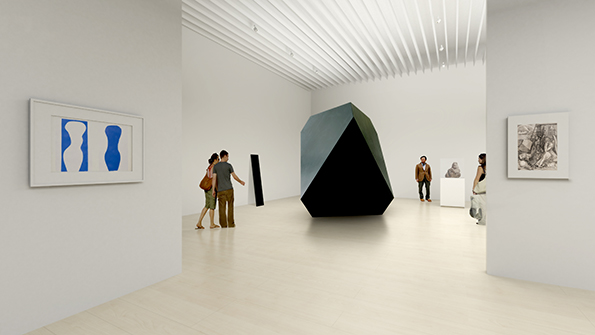 "Mock-up image of ""Simple Forms: Contemplating Beauty"" installation. Courtesy of Mori Art Museum."