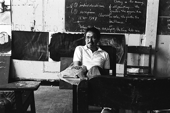 Robert Chabet, at the University of the Philippines College of Fine Arts, 1983. Photo: Soler Santos